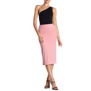 Velvet Torch Pink Ribbed Midi Skirt With Side Slit